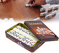 """Уцінка! Настільна гра """"Доміно"""" в металевій коробці (9x11,5x3,5см)"""