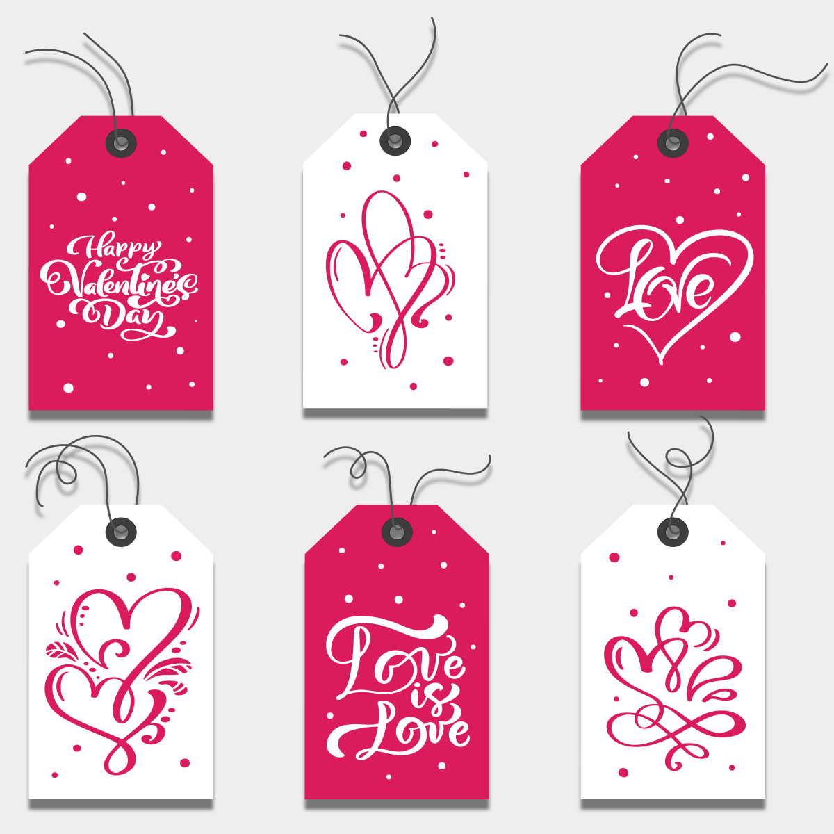 Открытки для подарков на день влюбленных 6 штук