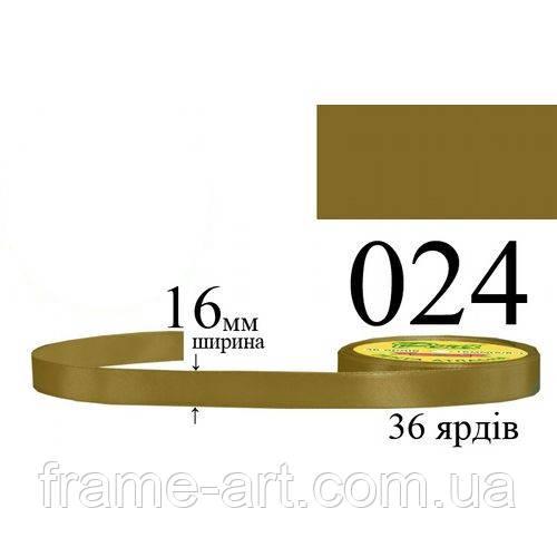 Лента атласная 16мм 33м, 024 Оливково-золотой, темный