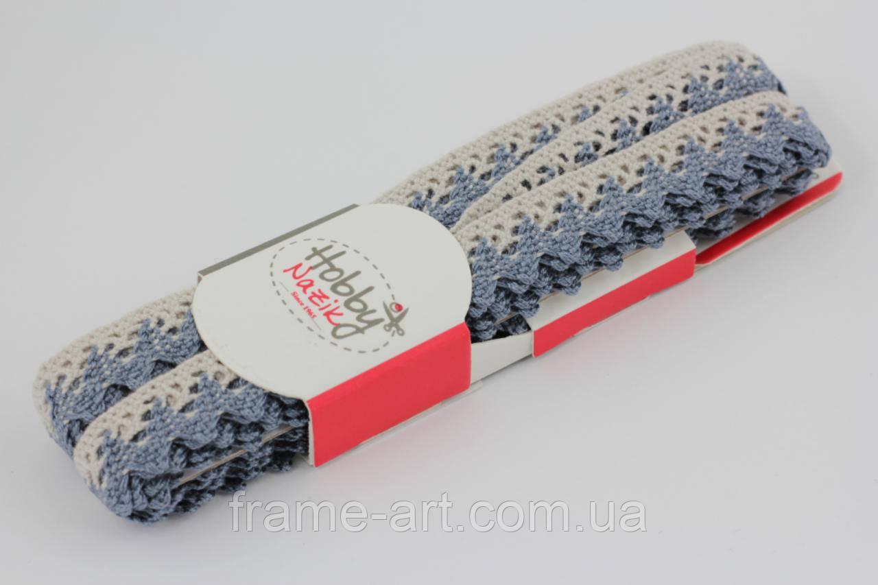 5008/L5 Кружево 15мм 100% хлопок Турция, лен с синим