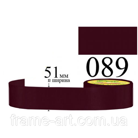 Лента атласная 51мм 33м, 089 Красный виноград, очень темный