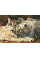 Дантель Арт.8148 Волки, канва с рисунком