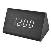 Часы электронные VST-864-6, термометр, будильник, активация по звуку, черные