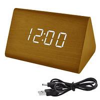 Годинники електронні VST-864-6, термометр, будильник, активація звуком, дерево