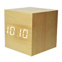Годинники електронні VST-869-6, термометр, будильник, активація звуком, дерево
