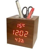 Часы электронные VST-878S-1, термометр, будильник, влажность, календарь, дерево