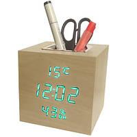 Часы электронные VST-878S-4, термометр, будильник, влажность, календарь, дерево