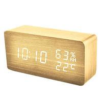 Годинники електронні VST-862S-6, термометр, будильник, вологість, календар, дерево