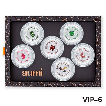 Подарочный набор VIP-6 в коробке, ореховые пасты AUMI фисташковая, миндальная, фундучная, кешью, Espressо