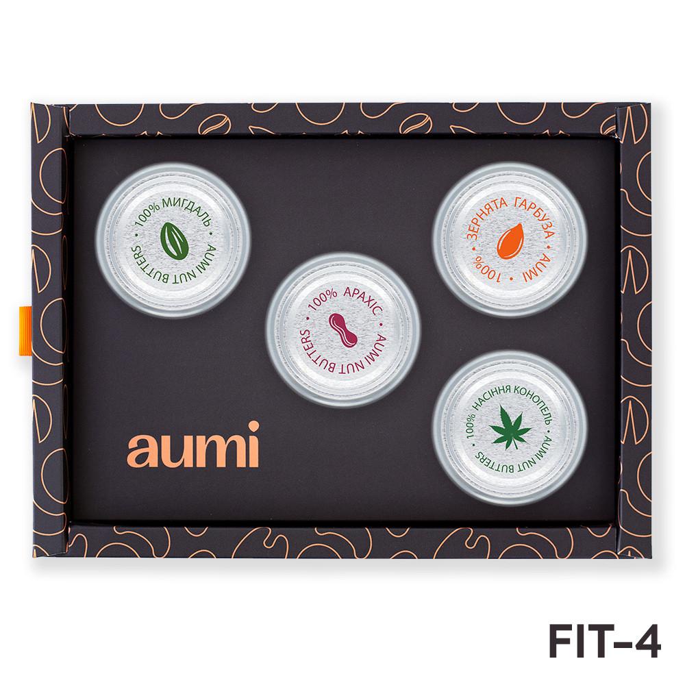 Подарочный набор FIT-4 в коробке, ореховые пасты AUMI миндальная, арахисовая, из семечек конопли и тыквы
