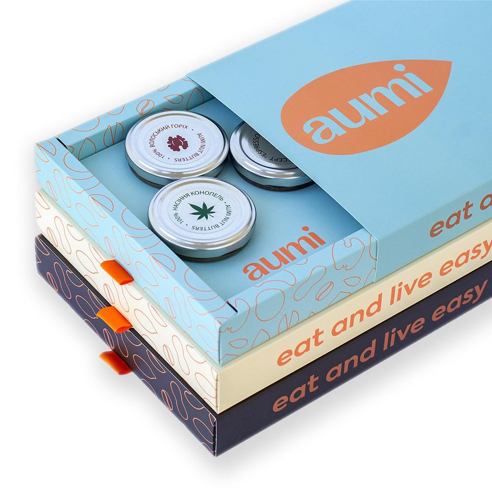Коробка подарочная для упаковки набора ореховых паст AUMI в стеклянных баночках по 50г