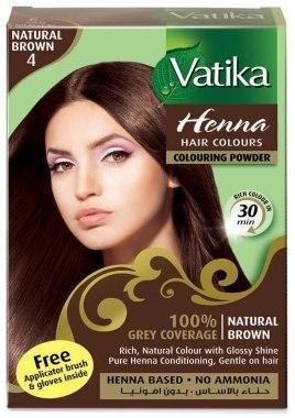 Краска для волос с хной Ватика - коричневый - Дабур - 6 шт - 10 гр