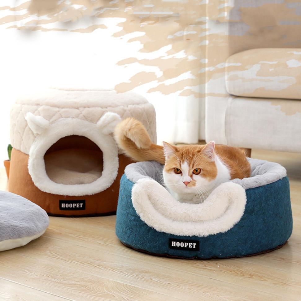 Домик лежанка для кошки собаки круглый лежак трансформер серый 40 см