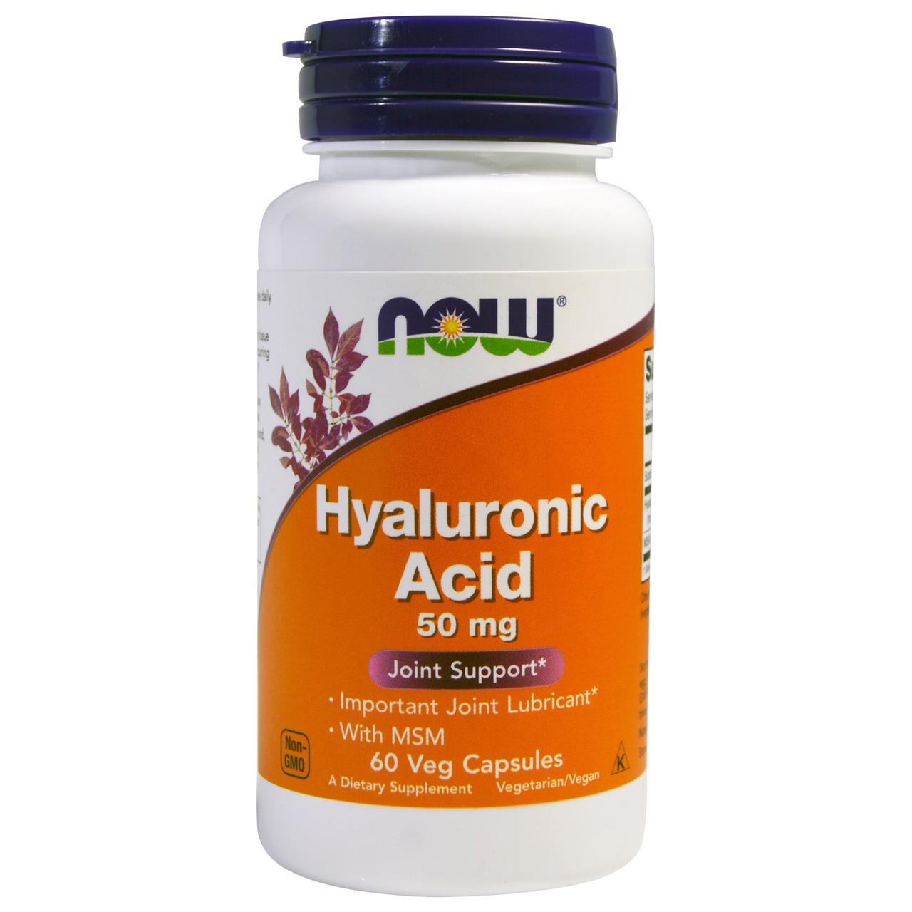 Препарат для восстановления суставов и связок Now Foods Hyaluronic Acid + MSM 50 мг (60 желевых капсул)