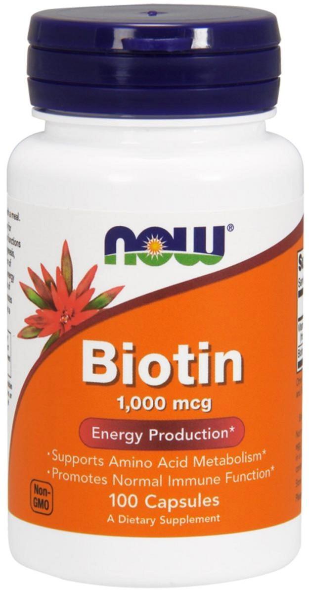 Витамины для кожи, ногтей и волос Now Foods Biotin В7 1000 мкг (100 капсул)