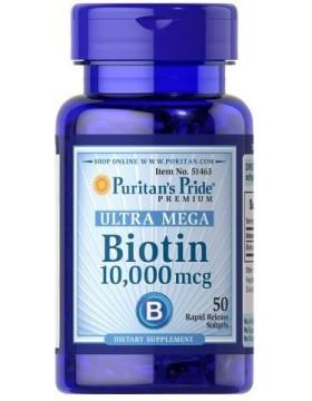 Витамины для кожи, ногтей и волос Puritan's Pride Biotin 10,000 мкг (50 капс)