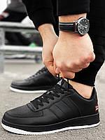 Мужские кроссовки Air Force черные с белой подошвой Аир форс
