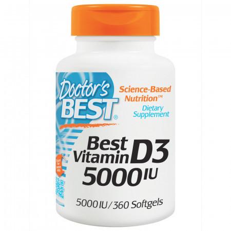 Витамины Doctor's Best Vitamin D3 5000IU (360 желатиновых капсул)