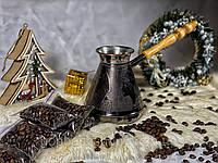 Турка для кофе медная 850 мл КОФЕ В ПОДАРОК (Рисунок на турке можно выбрать)