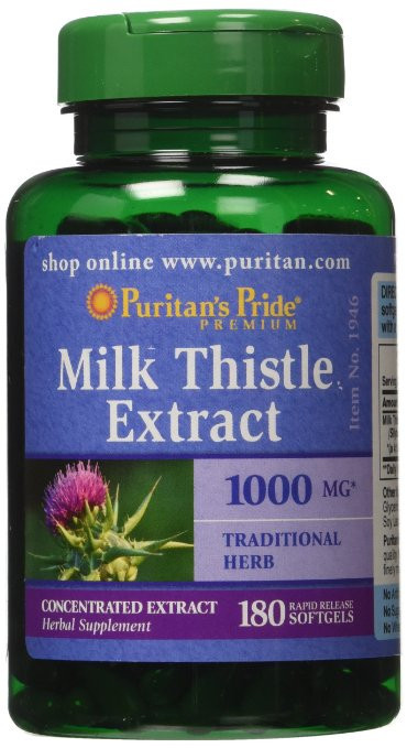 Препарат для поддержки печени Puritan's Pride Milk Thistle 4:1 Extract 1000 мг (Silymarin) (90 капс)