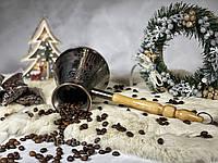 Турка для кофе медная 400 мл КОФЕ В ПОДАРОК (Рисунок на турке можно выбрать)