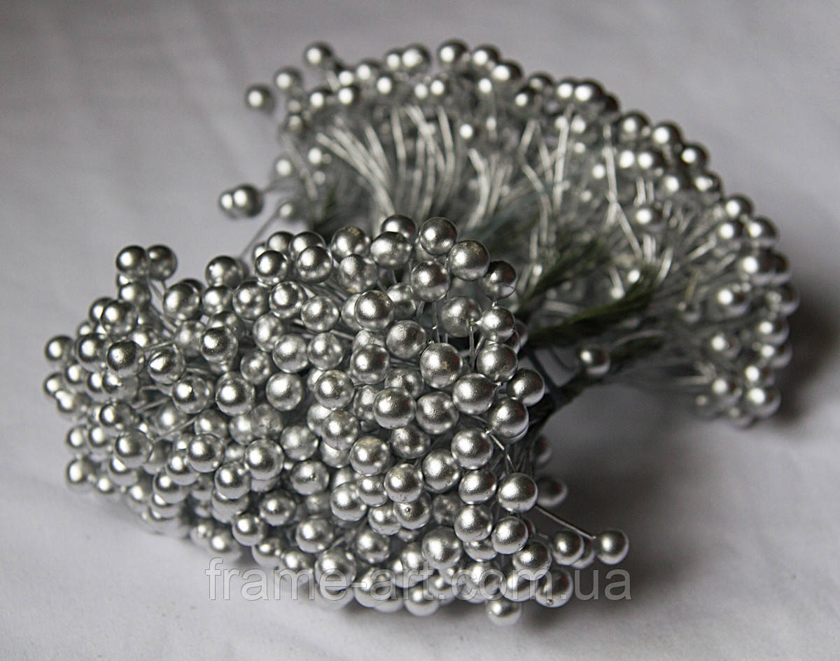 Ягода на проволке 8мм серебро