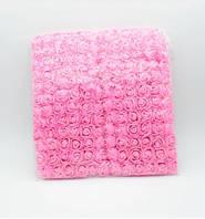 Букет роз из фома 2см с фатином 12шт светло-розовый (light pink)