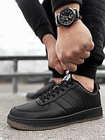 Мужские кроссовки Air Force черные с полиуретановой подошвой Аир форс