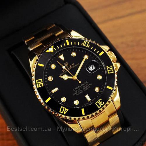 Часы мужские наручные механические с автоподзаводом  Rolex Submariner Automatic Gold-Black Реплика Ролекс
