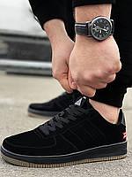 Мужские замшевые кроссовки Air Force черные Аир форс