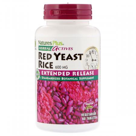 Красный Дрожжевой Рис Natures Plus Herbal Actives Red yeast Rice (60 таблеток)