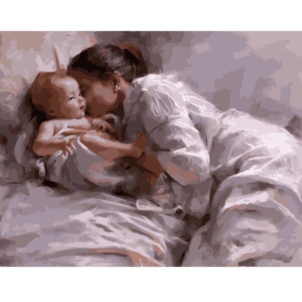 KMVA-1614 Картина по номерам Мама с младенцем, 40х50 см