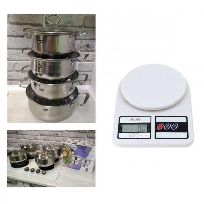 Набор кастрюль из нержавеющей стали Royal Queen и в подарок Кухонные весы SF-400 10 кг SKL11-276417