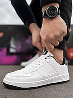 Мужские кроссовки Air Force белые с черной подошвой Аир форс