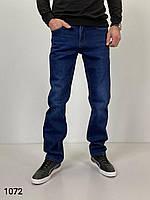 Утепленные мужские джинсы на флисе прямые