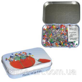 Химлайн 668,34 PT Булавки с пластиковыми головками в жестяной коробке,34мм 200шт
