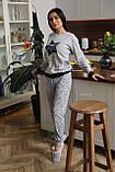 Женская домашняя пижама супер качества со штанами новогодние разные принты, фото 9