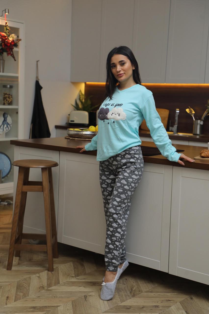 Женская домашняя пижама супер качества со штанами новогодние разные принты