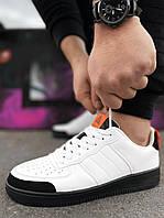 Мужские кроссовки Air Force белые с черной подошвой и черным носком Аир форс