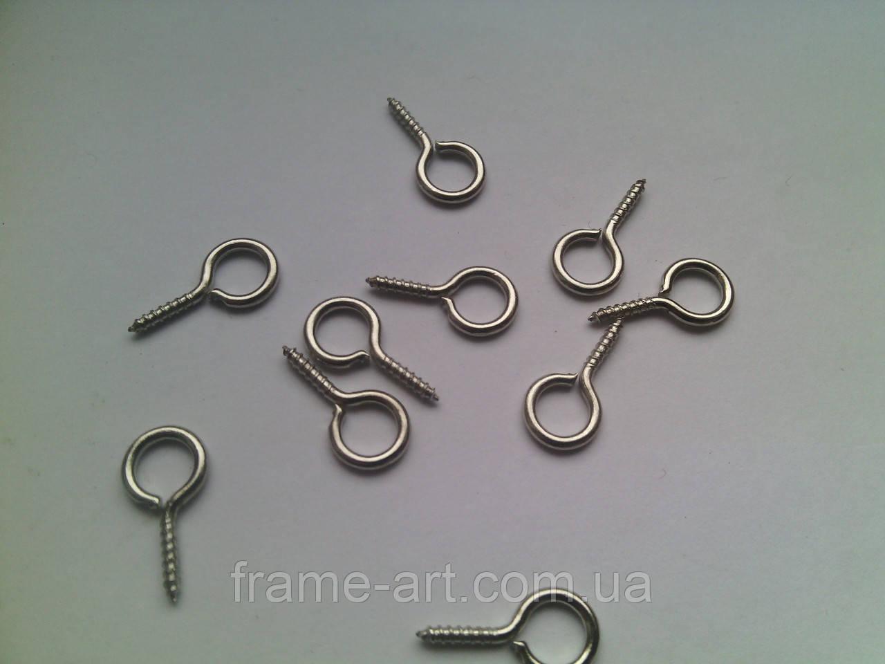 Крючок винт металлический 16*9мм серебро В-243-2