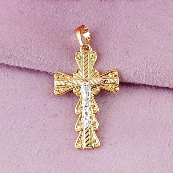 Крестик Xuping Jewelry с распятием медицинское золото позолота 18К + родий А/В 6-0109