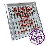 Иглы машинные ORGAN (Япония) SUPER STRETCH для бытовых швейных машин №75 №90 5шт