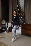 Женская домашняя пижама супер качества со штанами новогодние разные принты, фото 7