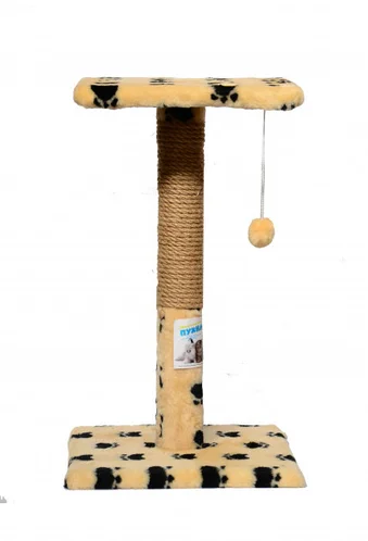 Когтеточка для котів з полицею 30х30х50 см бежева з лапками, Пухнастик