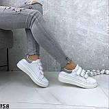 Кроссовки женские белые с серебристой пяткой 158, фото 4