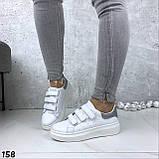 Кроссовки женские белые с серебристой пяткой 158, фото 5