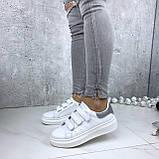 Кроссовки женские белые с серебристой пяткой 158, фото 6