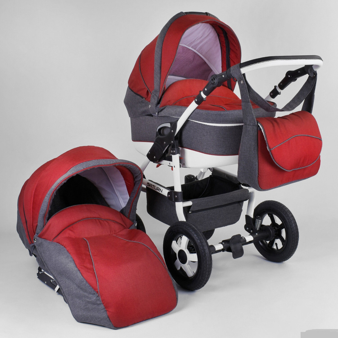 Коляска для детей Saturn ЛЕН БЕЛАЯ РАМА № 0186-L28 цвет серый с красным