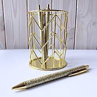 Подарочная металическая ручка Блестки, золото