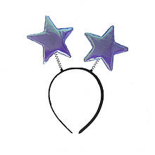 Ободок новогодний Звездочки на пружинках (фиолетовые)